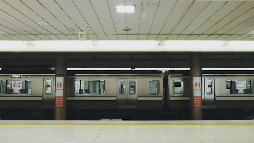 gray train on subway