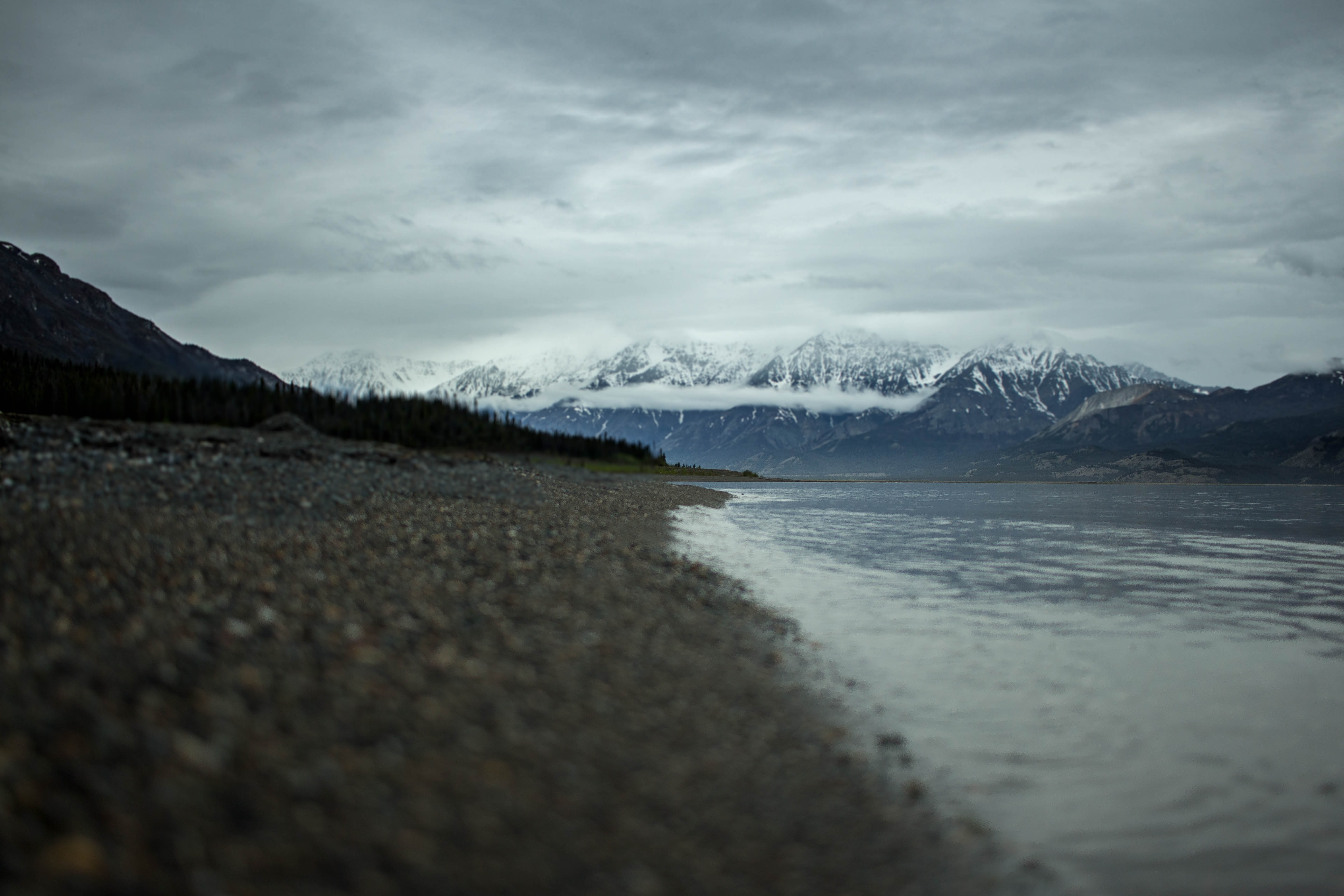A rocky beach by a lake at Yukon with snowy mountains in the distance