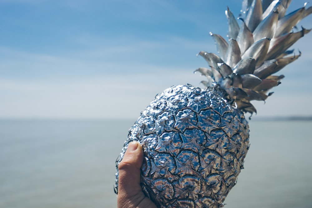 artificial silver pineapple