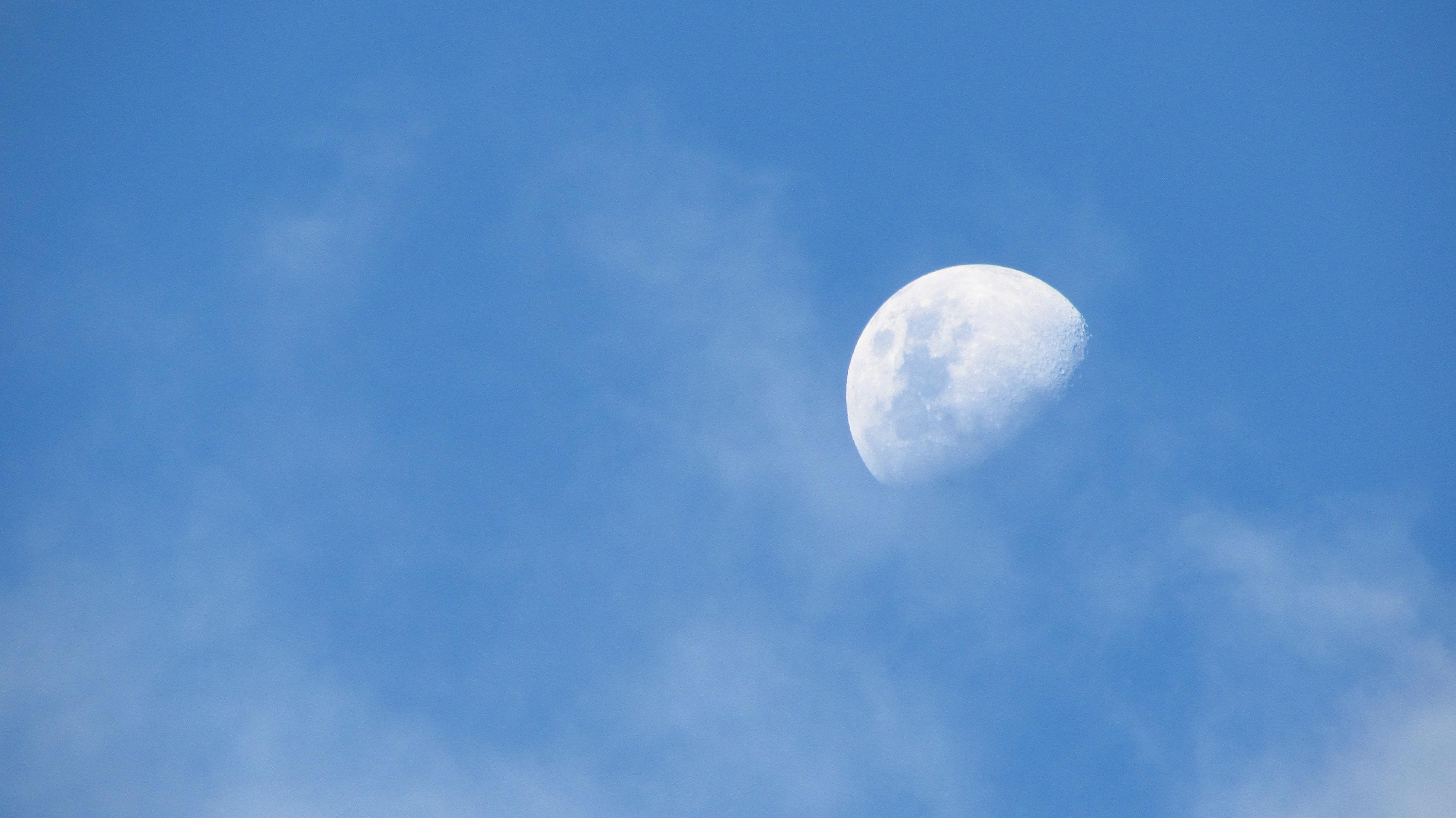 low angle photo of half-moon