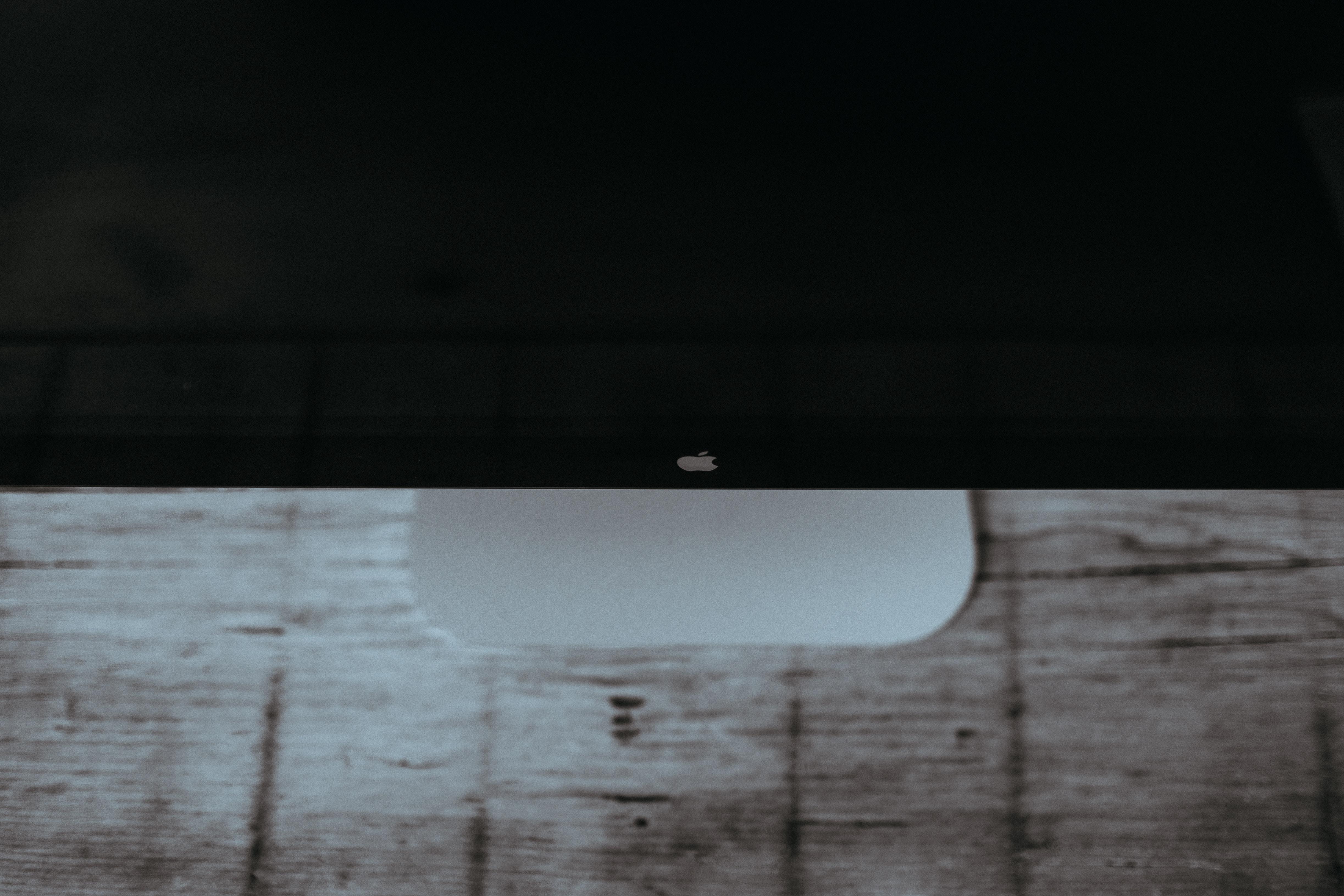 A high-angle shot of an iMac