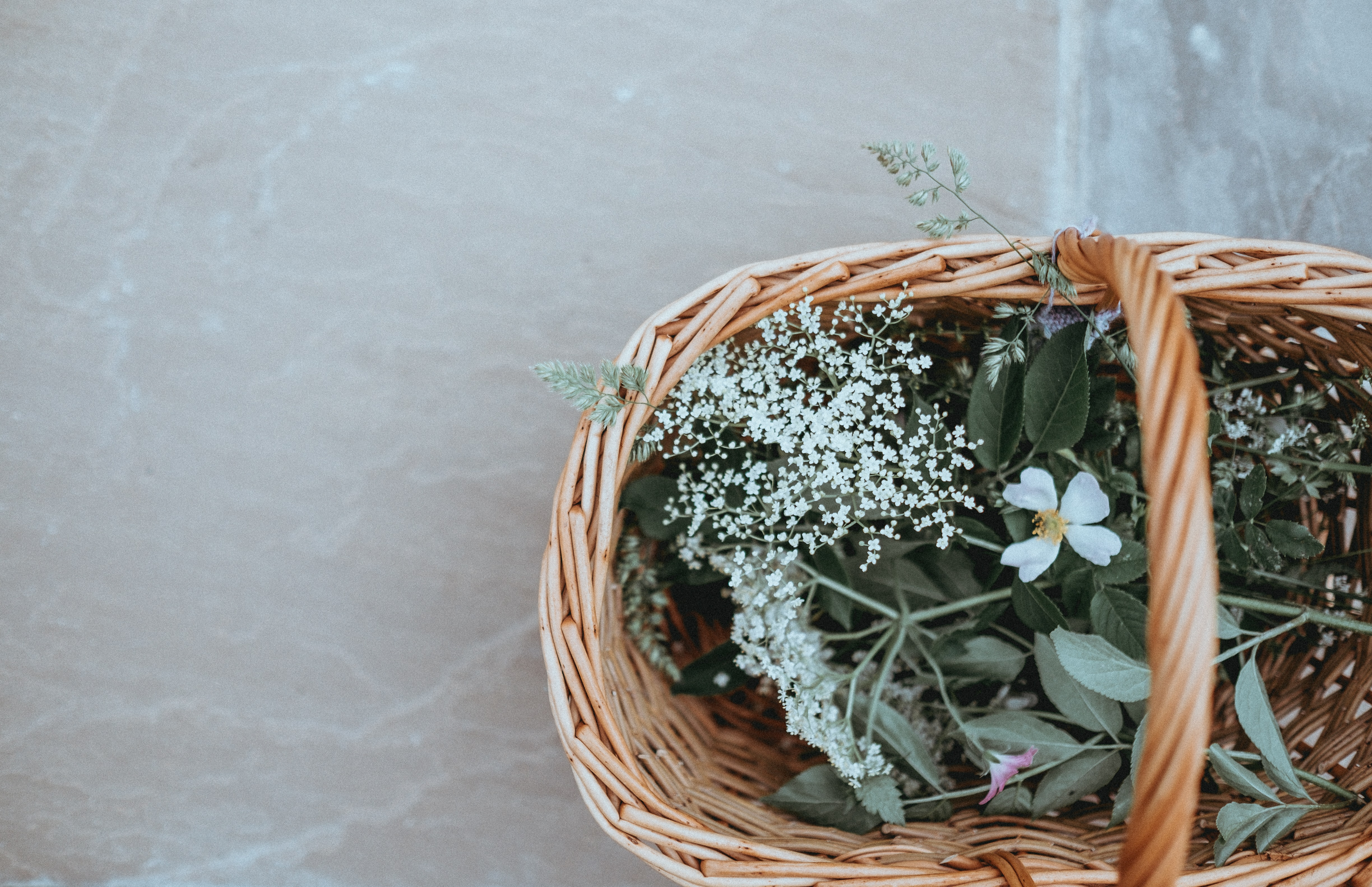 An overhead shot of a wicker basket with baby's-breath and other flowers