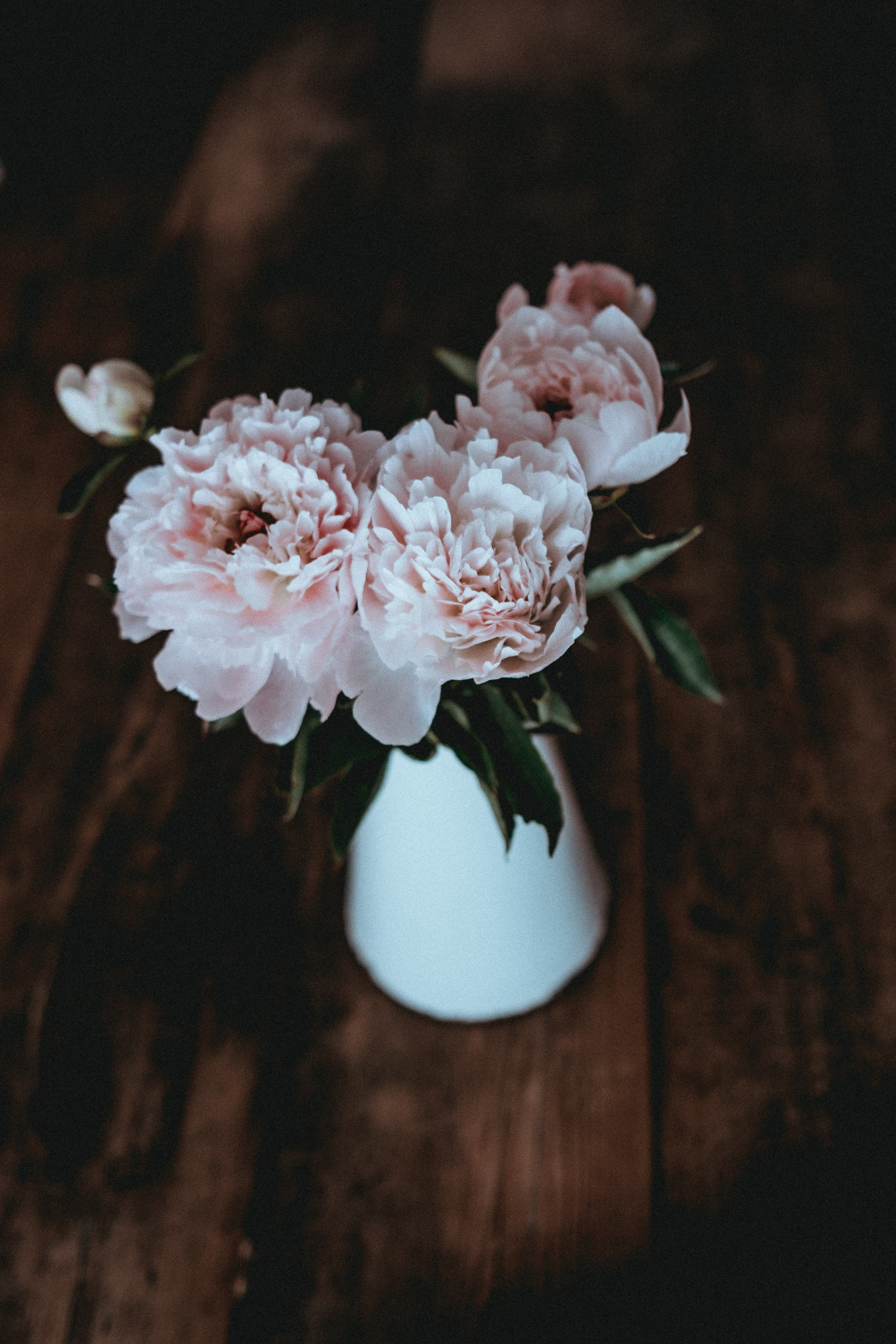 A white vase with pastel pink peonies