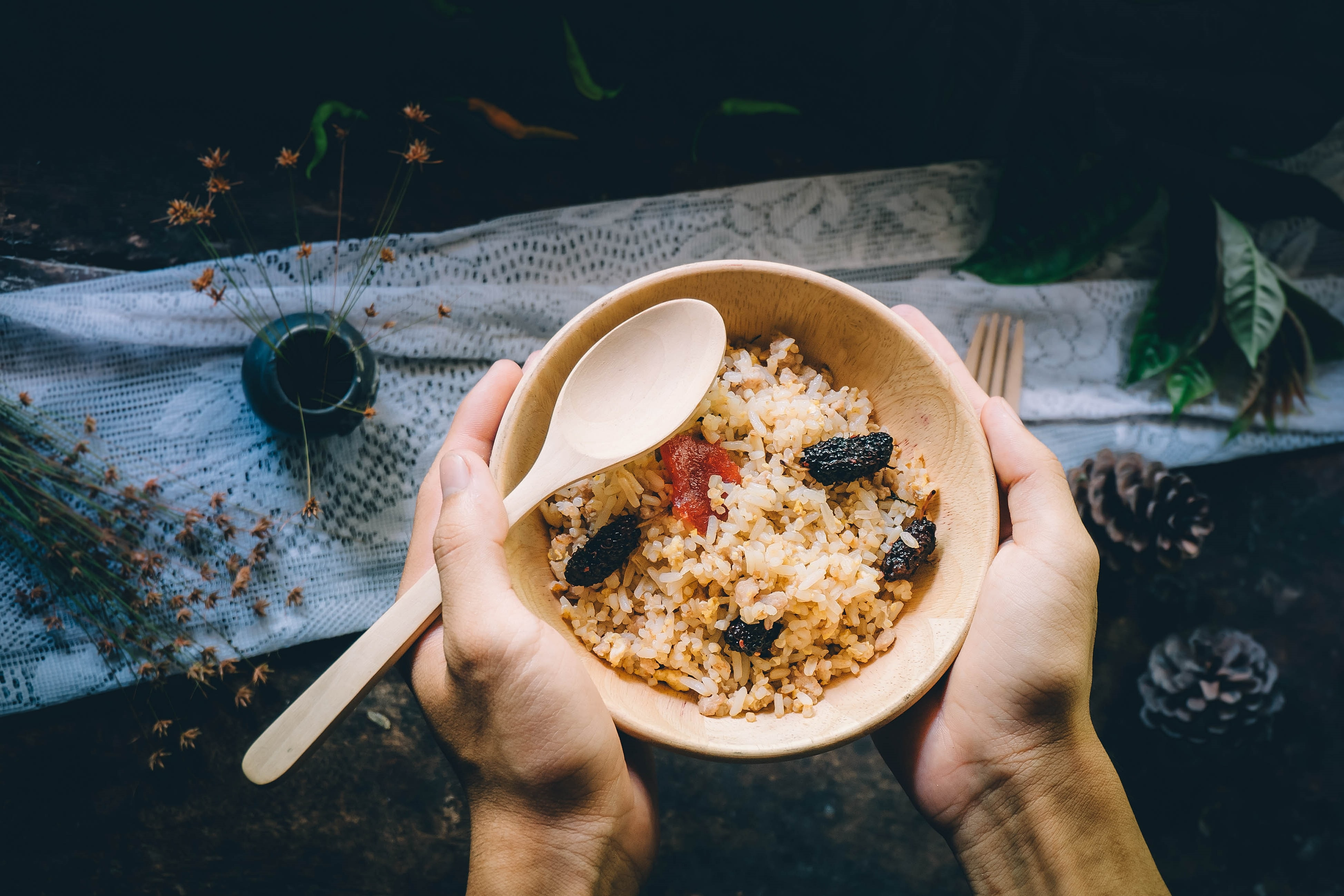 Rustic bowl of rice and vegetables for a hearty meal