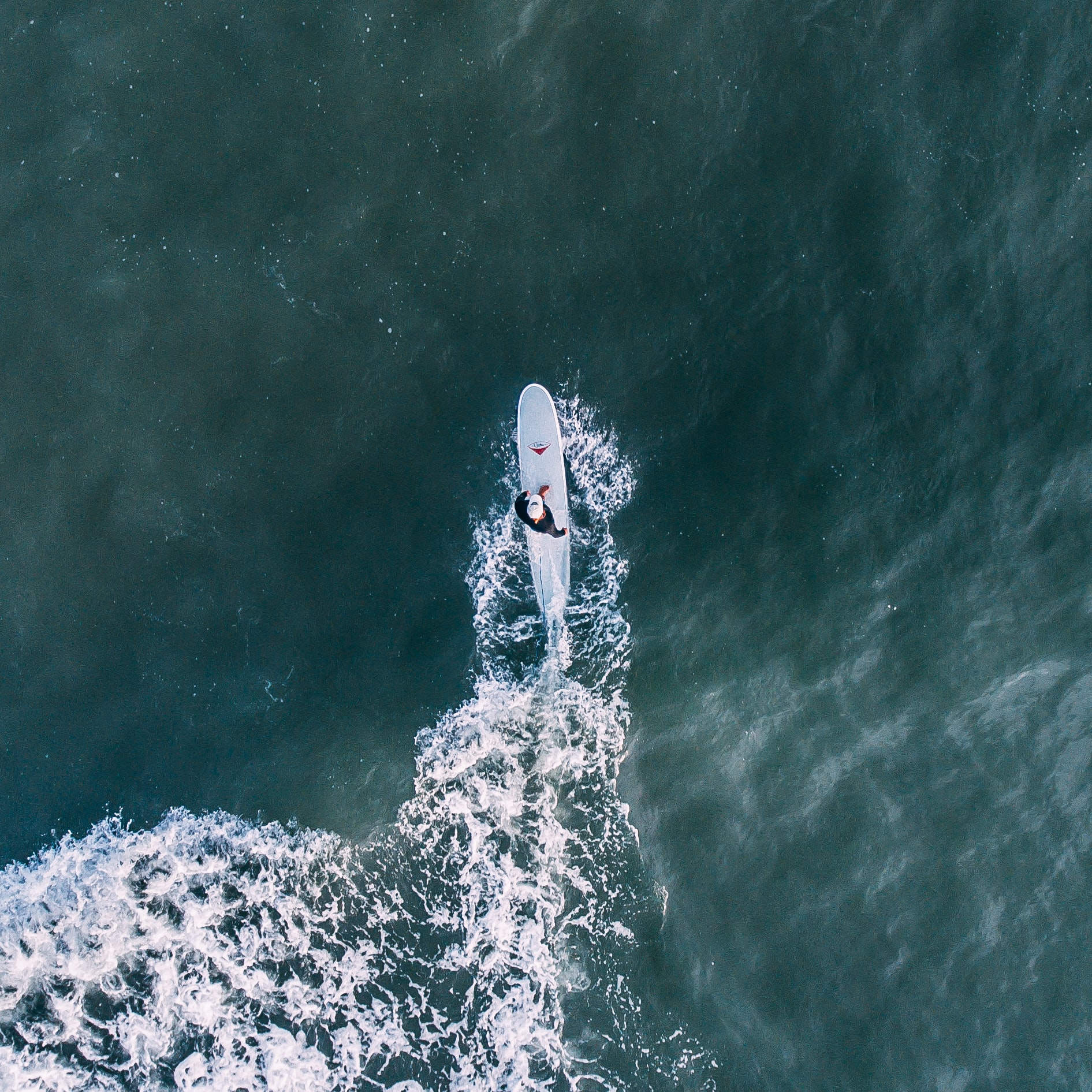 Drone view of a surfer on a surfboard in ocean at Beaches, Jacksonville Beach, Florida, United States