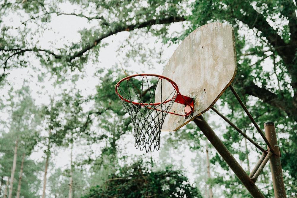 low angle photography of brown basketball hoop