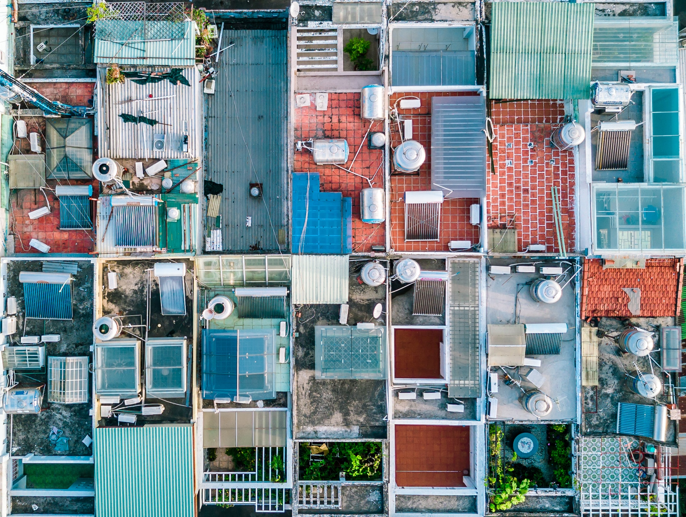 Drone view of home rooftops