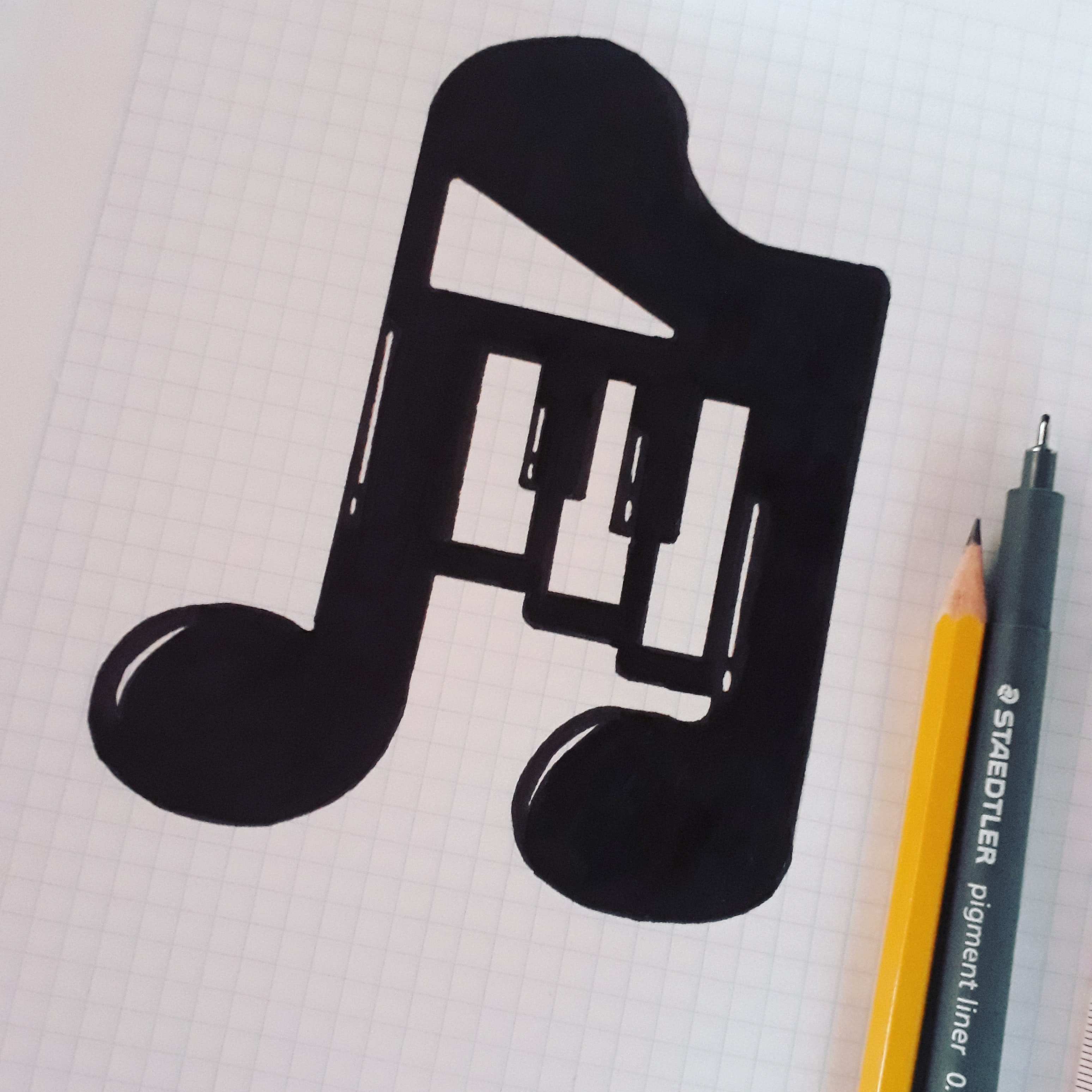 A music note with piano keys inside it, drawn on graph paper with a pencil and black pen.