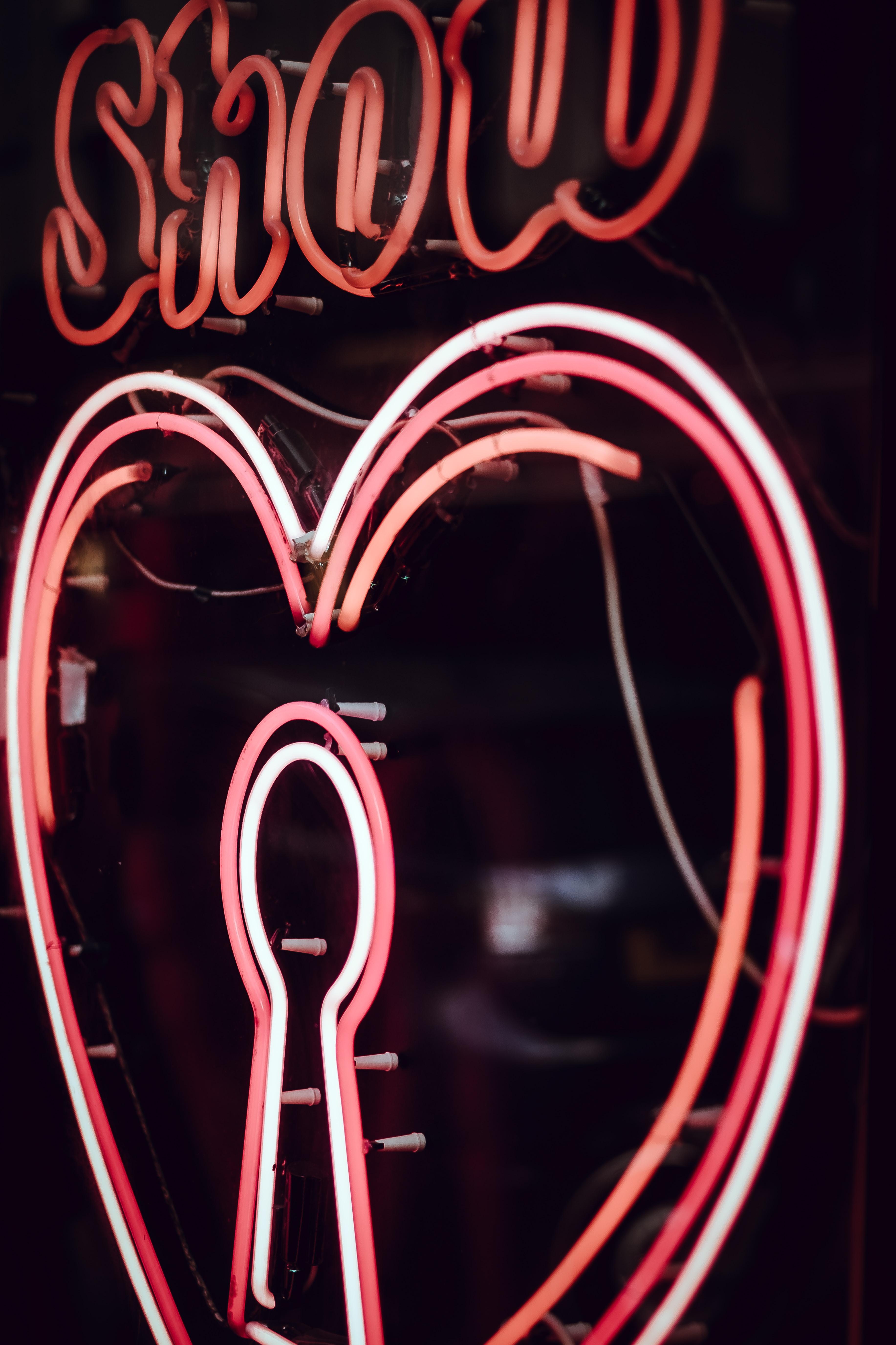 turned on heart LED signage