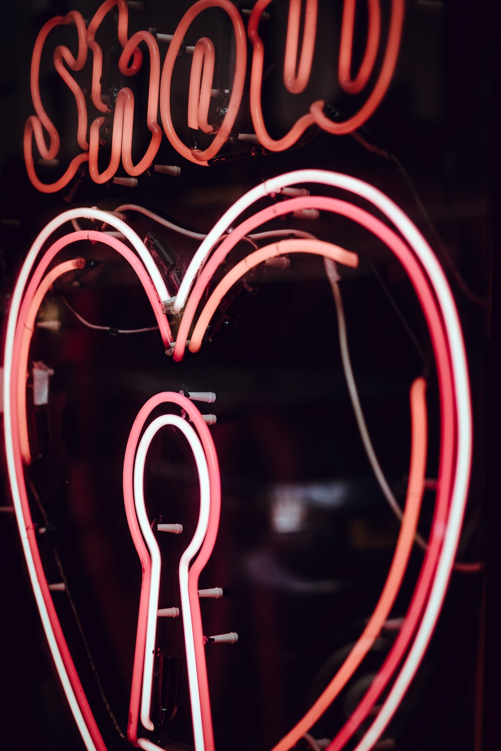turned on heart LED signage