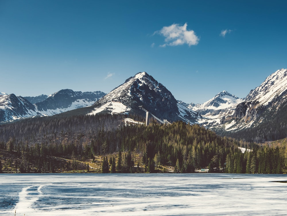 snow-covered mountains near trees and frozen lake during daytime