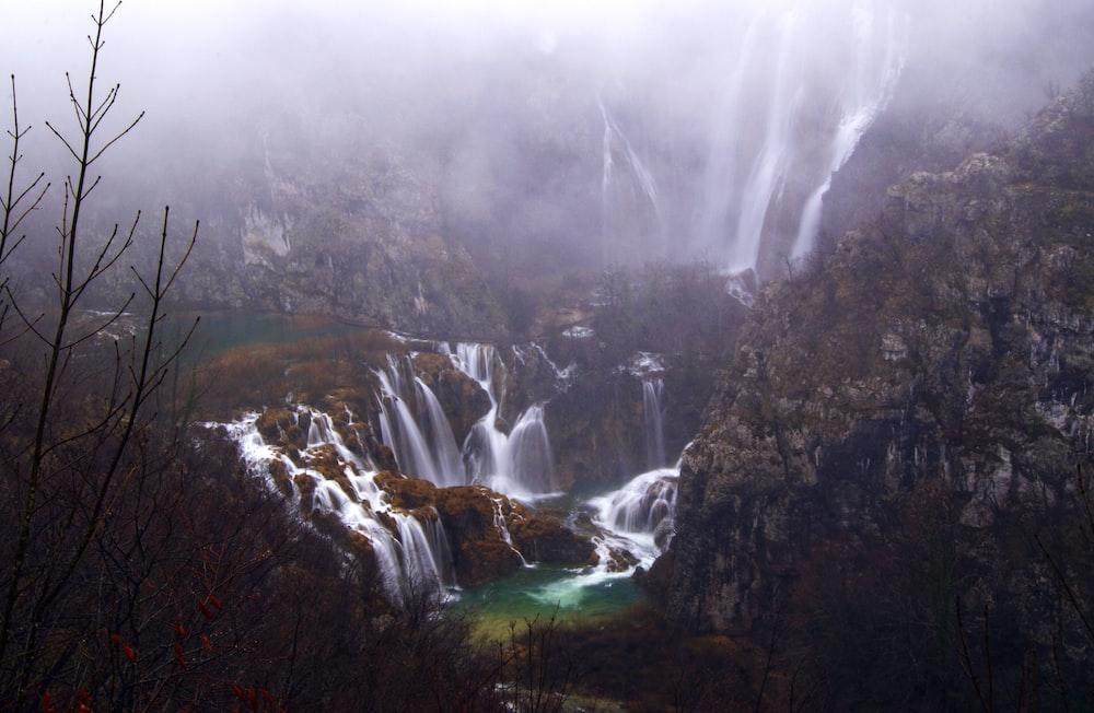 bird's eye view photography of waterfalls
