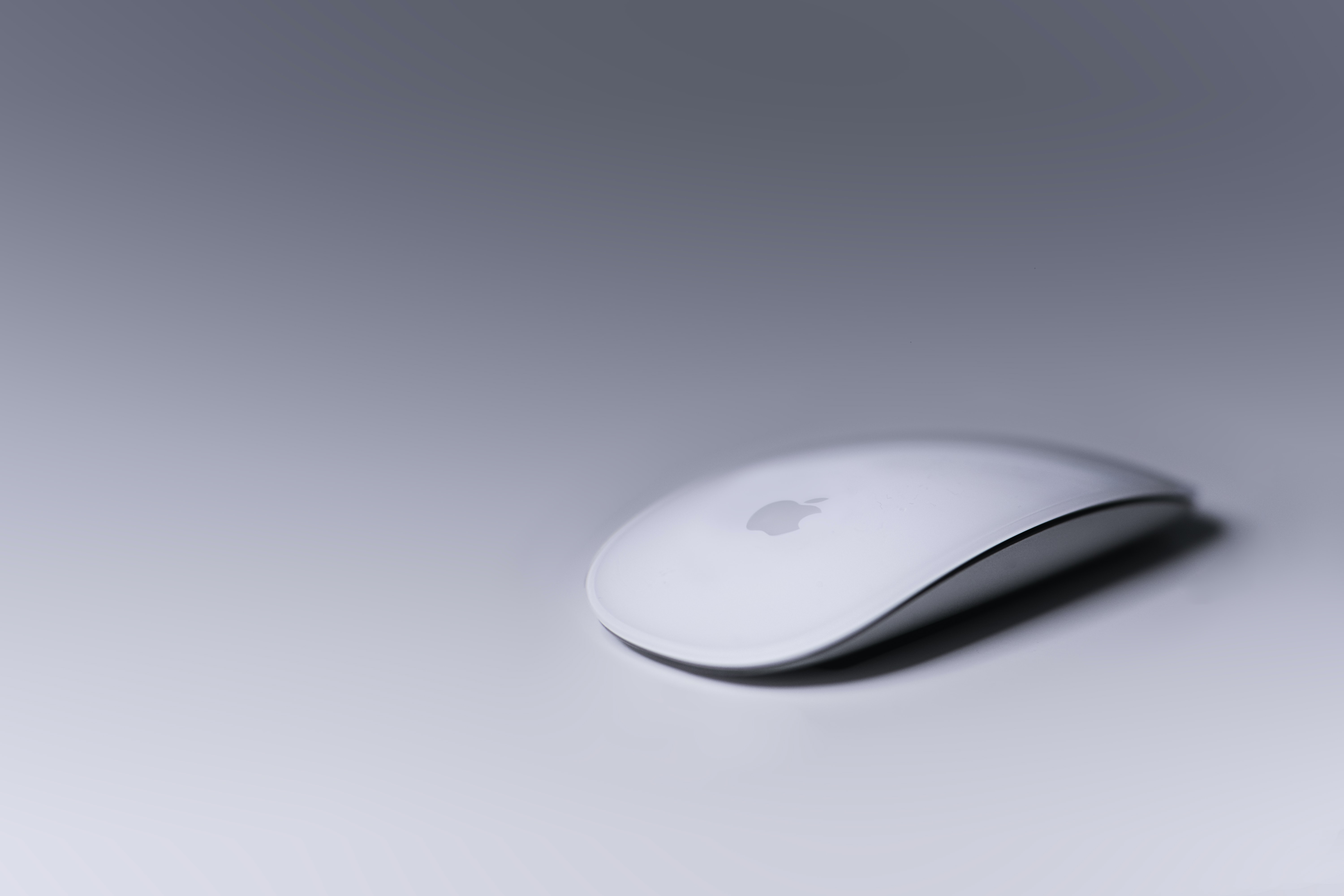 A white Apple mouse.
