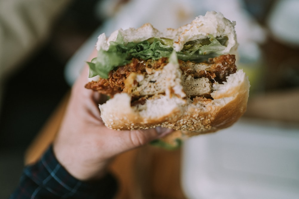 person holding hamburger with patty and vegetable fillings