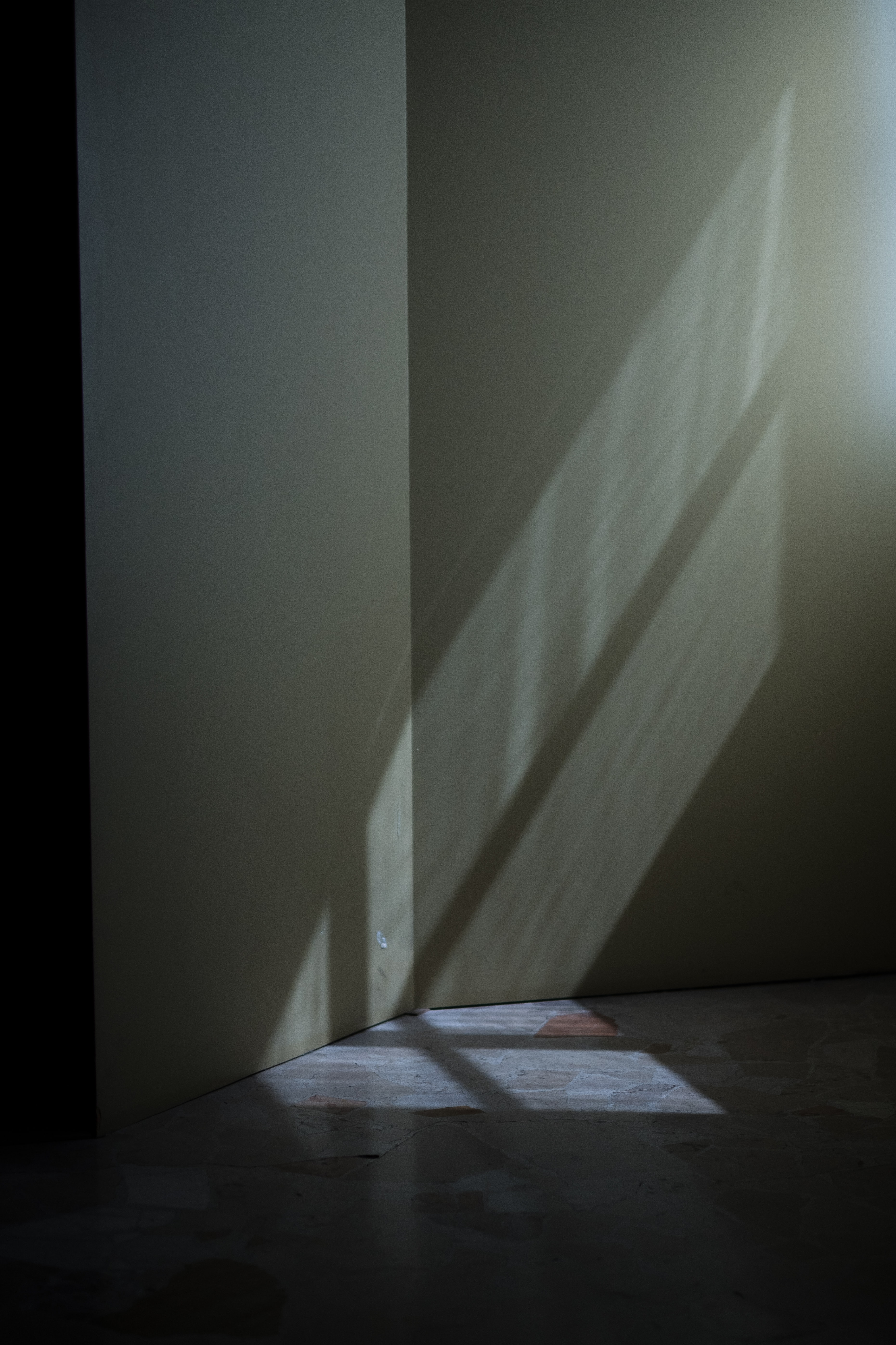 Shadows on a wall from light coming through a window.