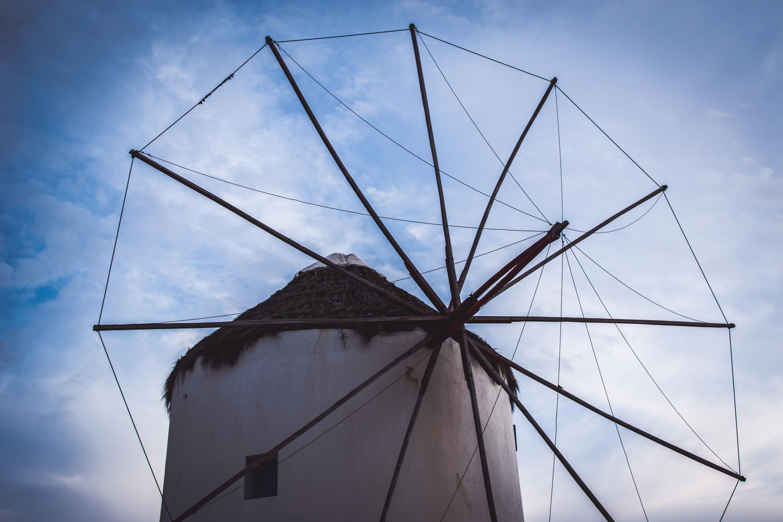 A wind power generator.