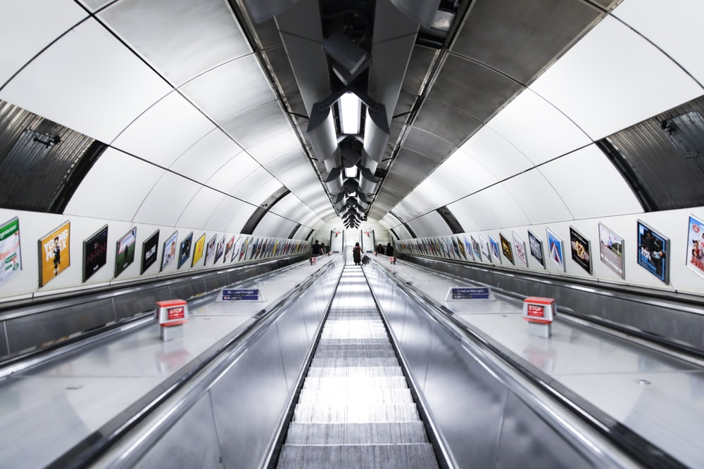 A long escalator in the London Underground