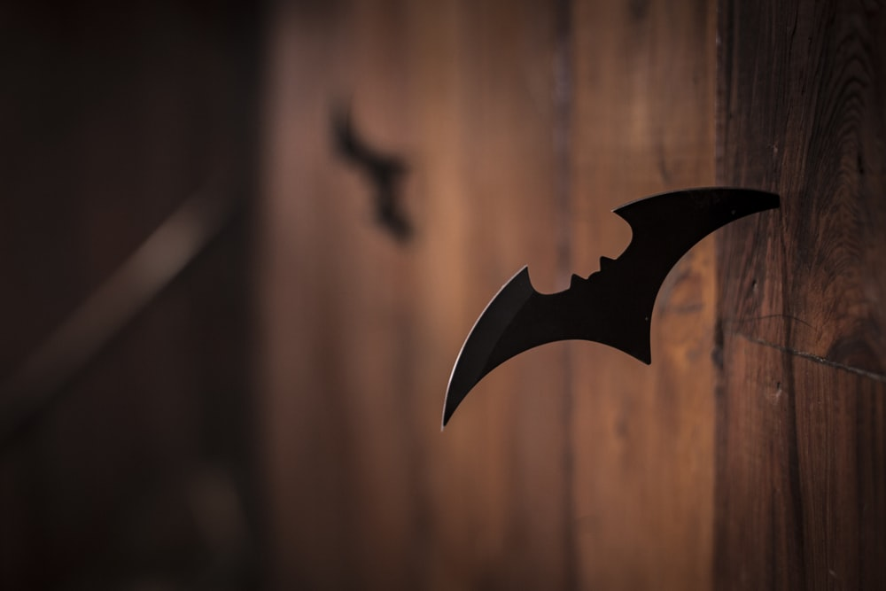 closeup photo of shuriken on wood