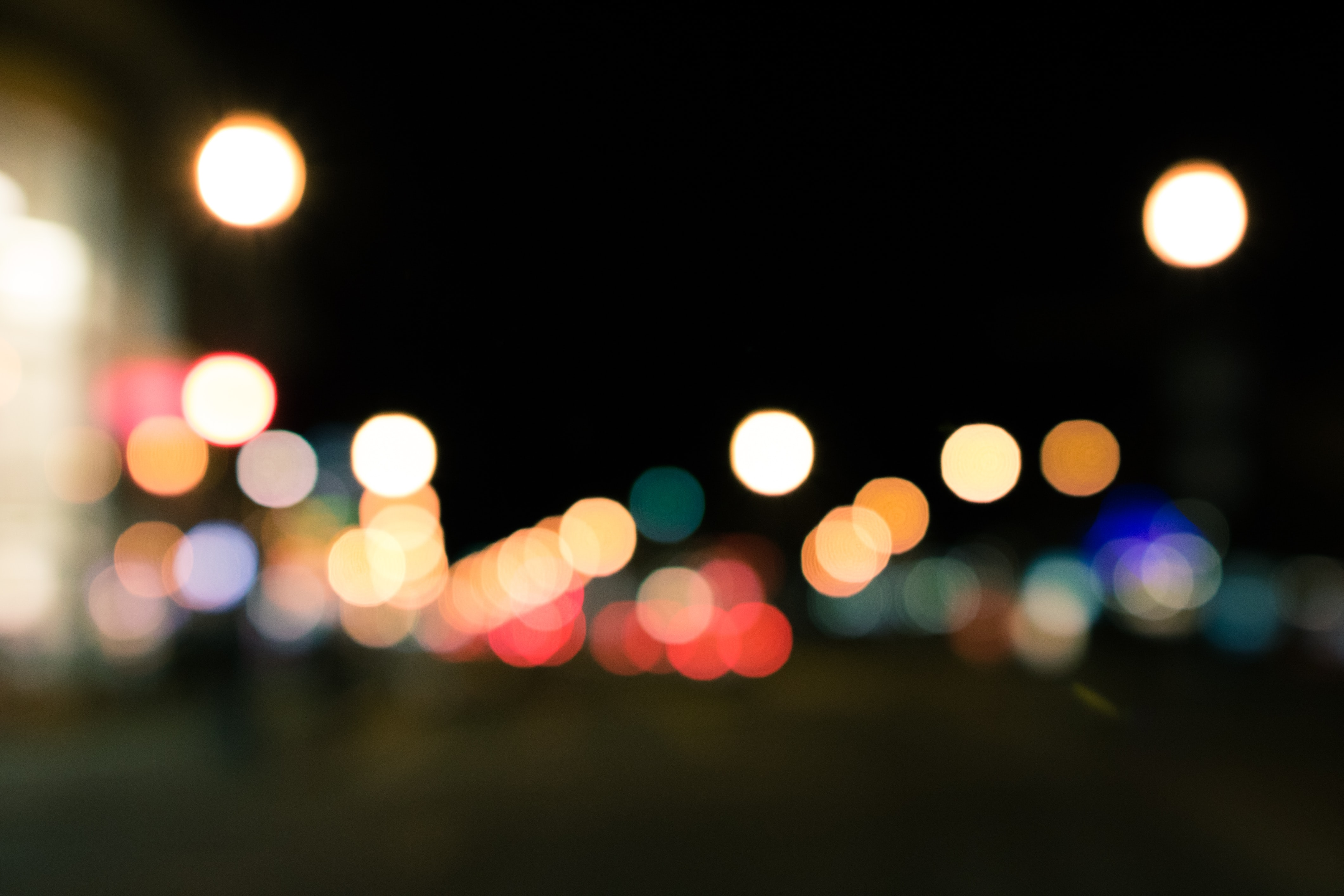 Bright lights at night in bokeh