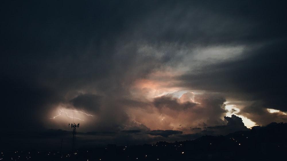 thunderstorm clouds on skies