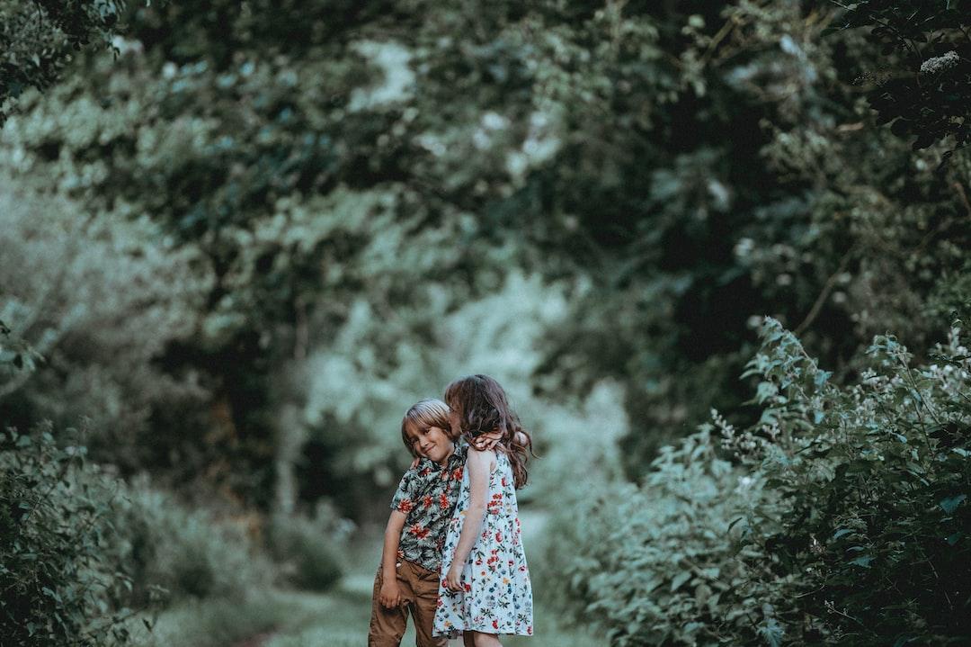 Siblings, children, hugging.