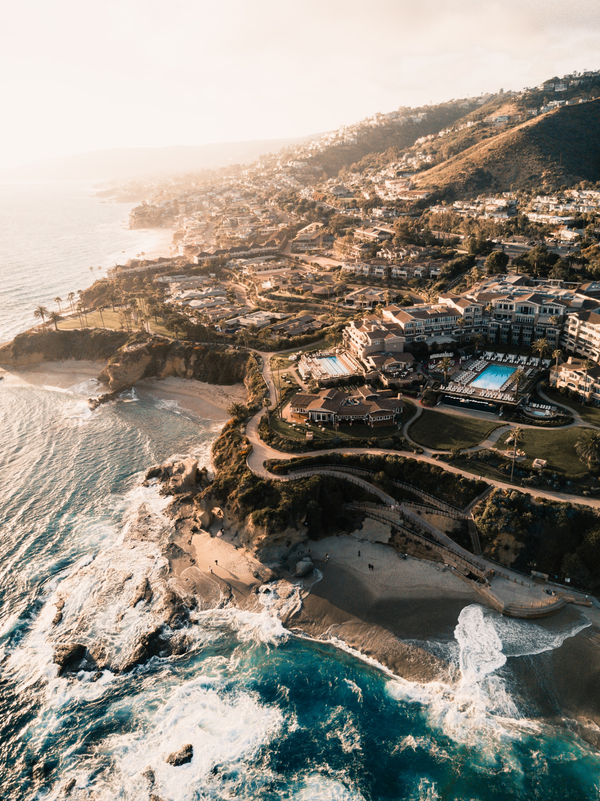 Drone aerial view of the coastal beach resort at Laguna Beach