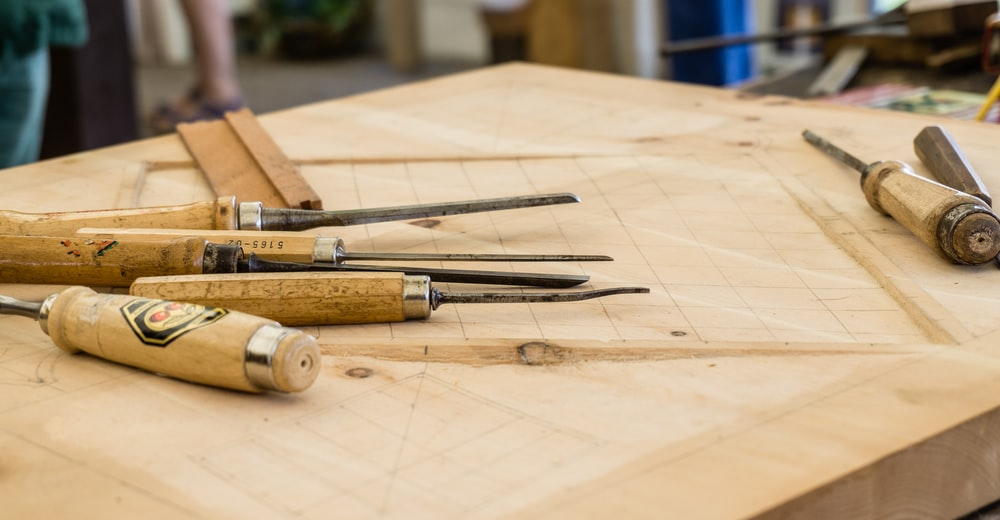 hand tools on top of table