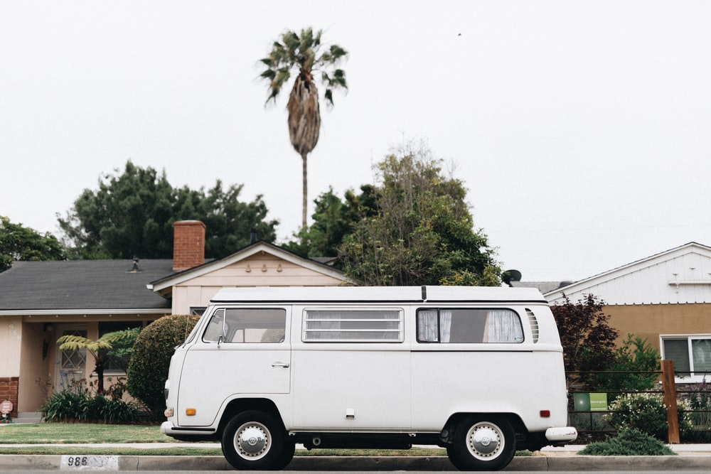 white van in front of house