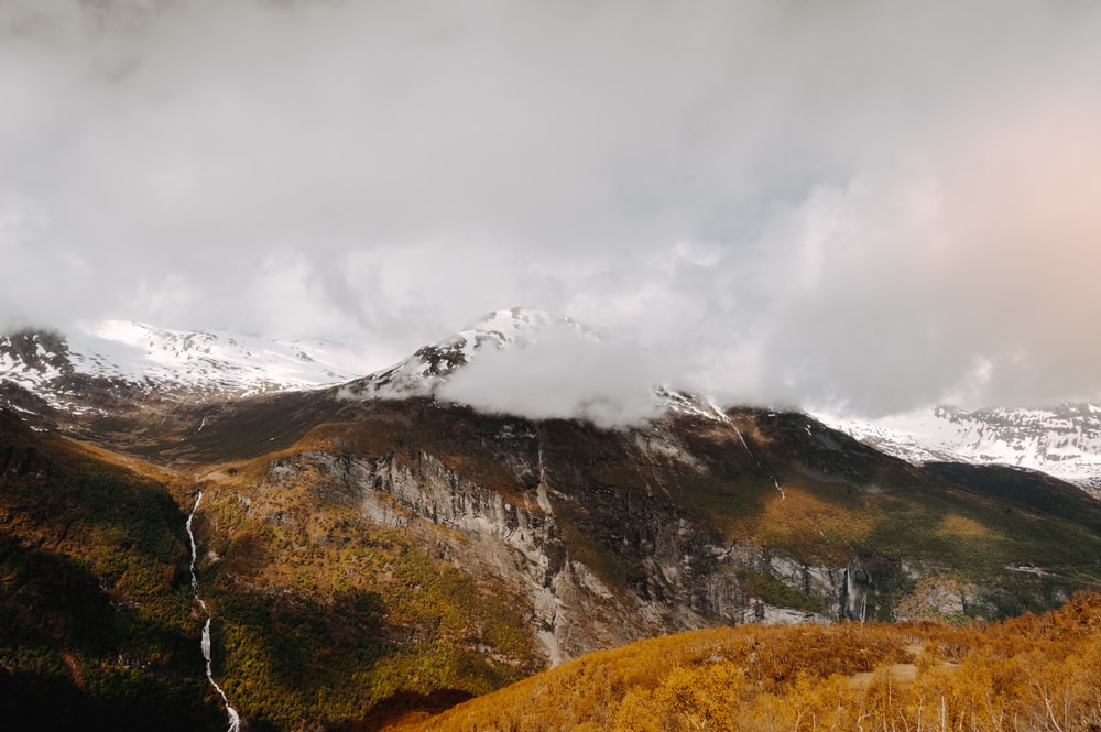 landscape photography of mountain with snow summit