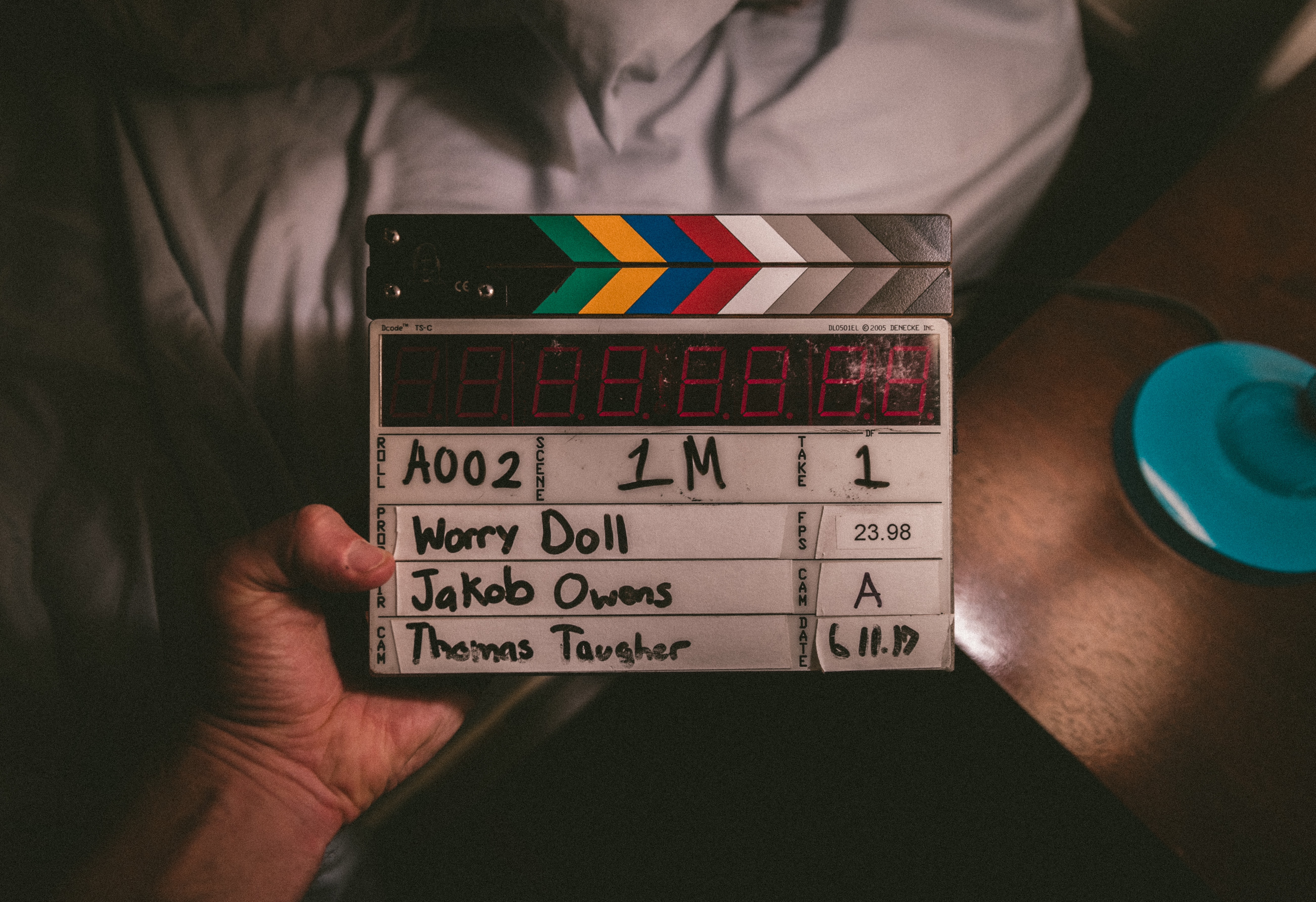 A director's clapperboard.