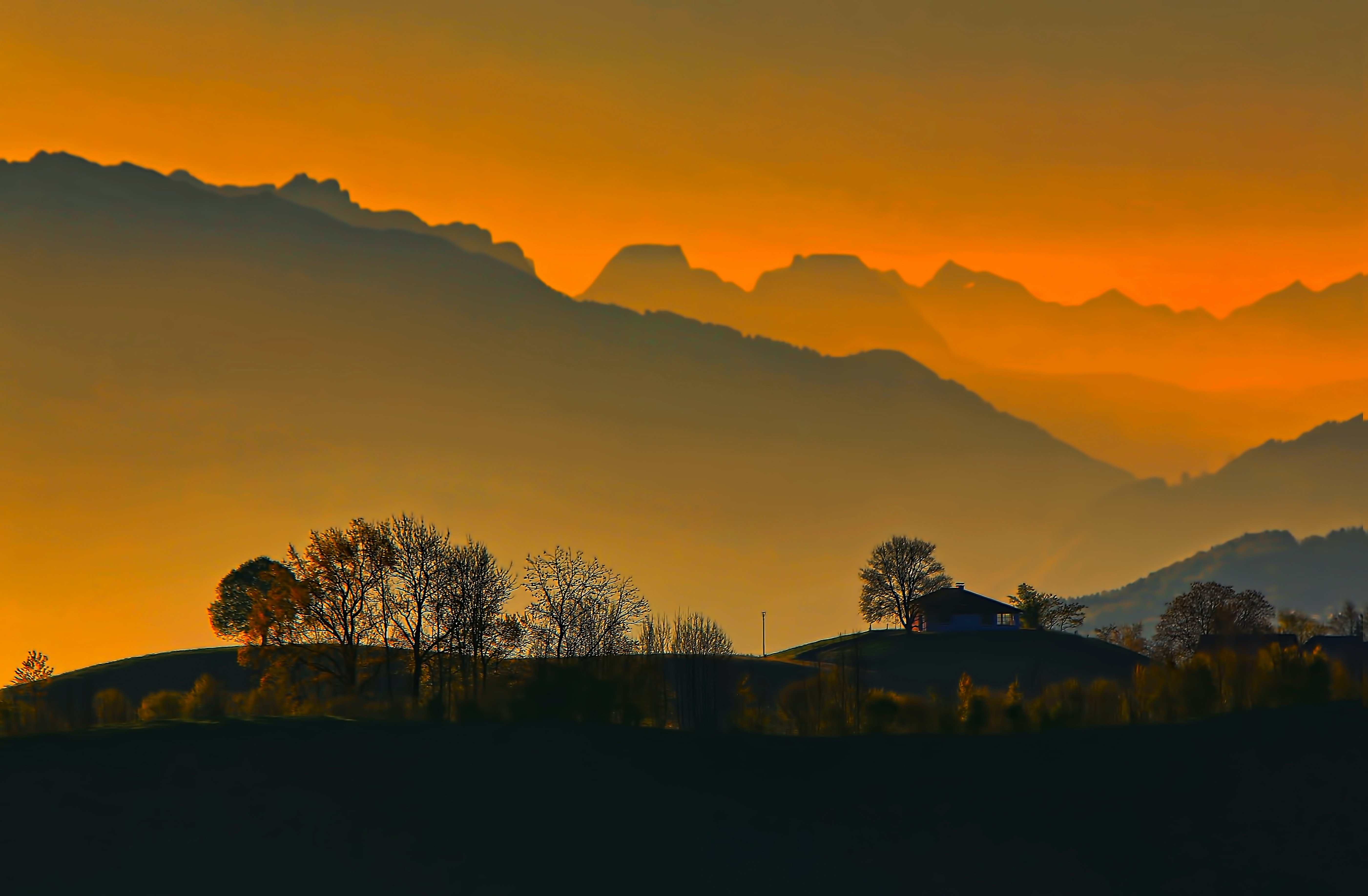An orange sky over the trees, grass, and mountains of a valley at sunset