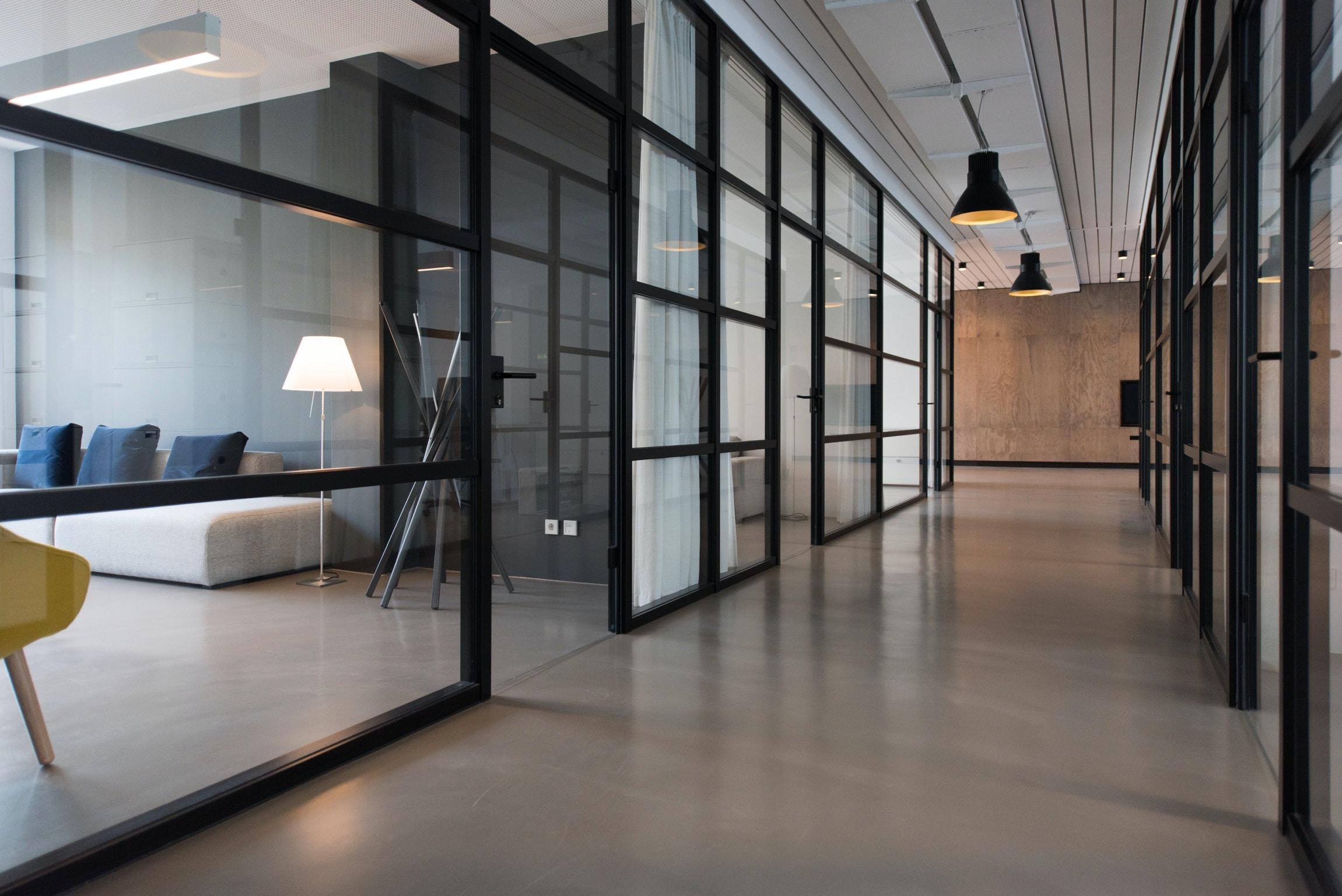 office hallway. Hallway Between Glass-panel Doors Office D