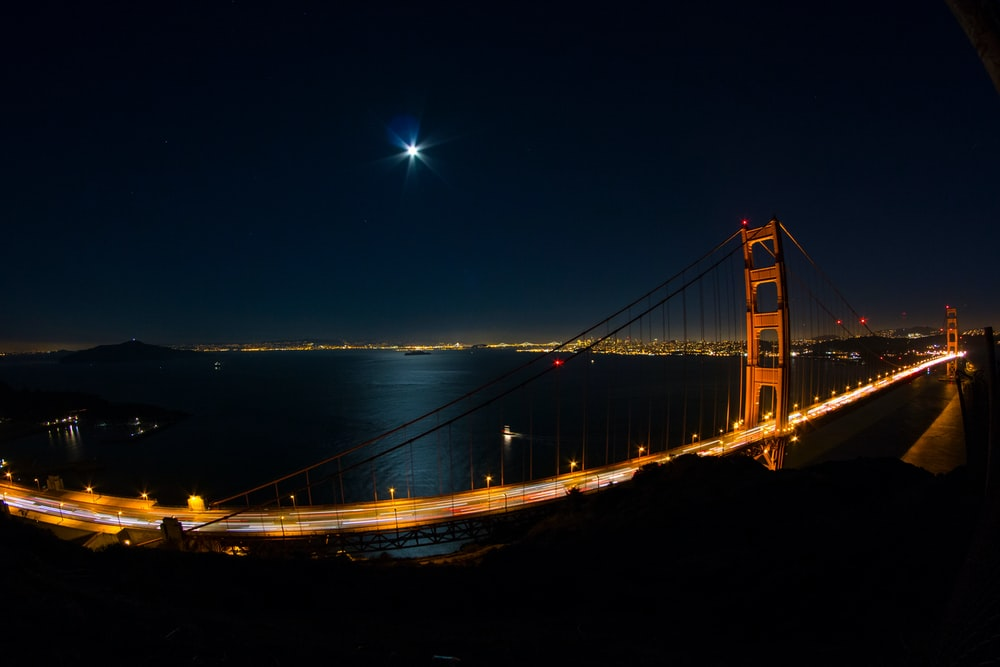 time-lapse photography of Golden Gate, San Francisco during nighttime