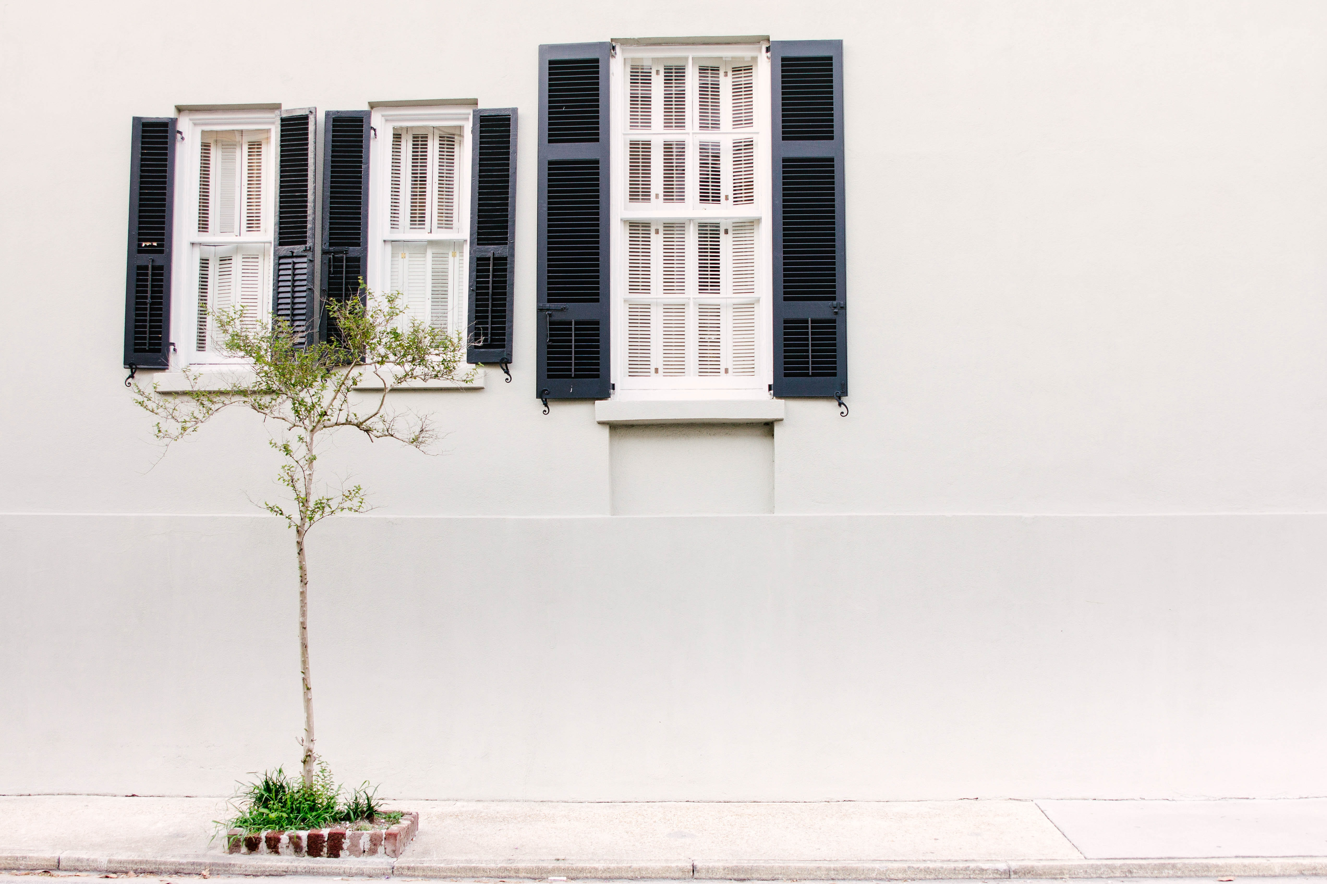 A white house with three windows that have blue shutters and a tree out front in Charleston