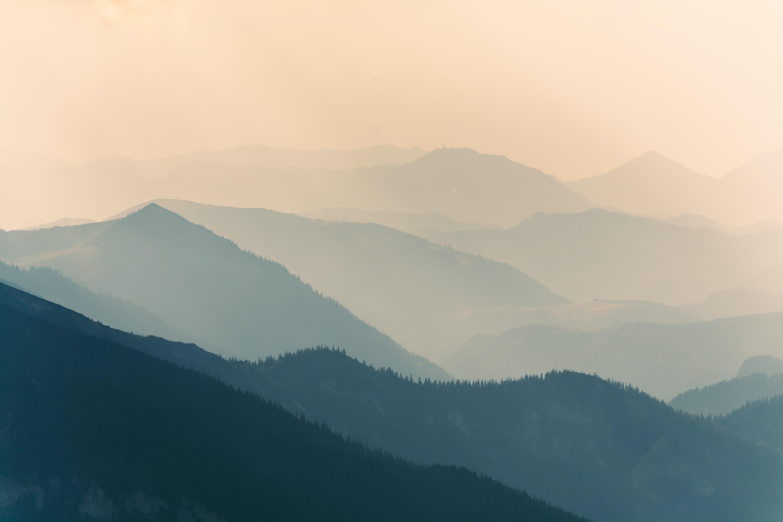 Ottohaus mountain ridge sunlit on a misty morning