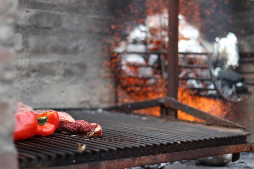red bell pepper on grill