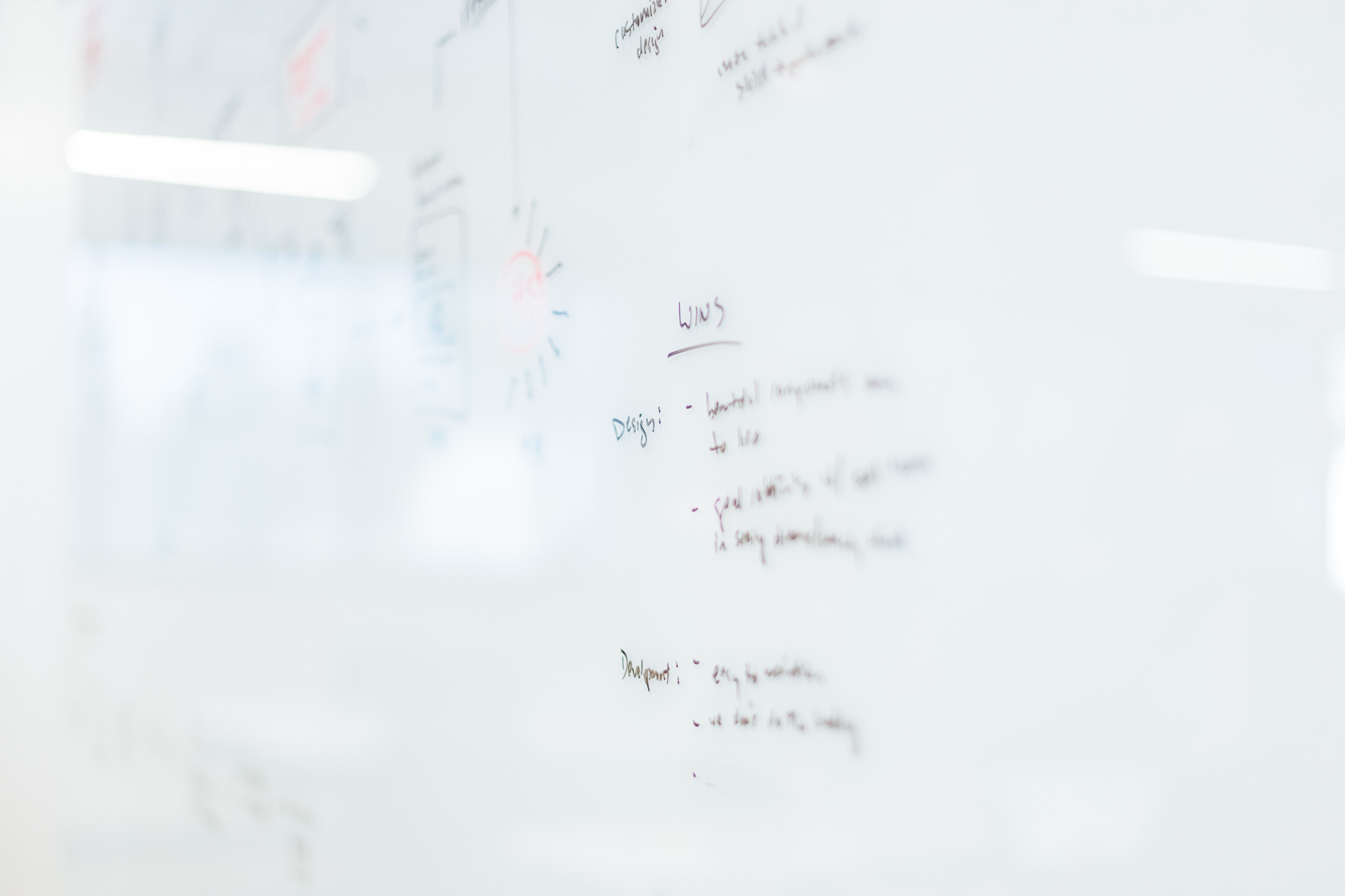 Bullet points listed on a glossy whiteboard