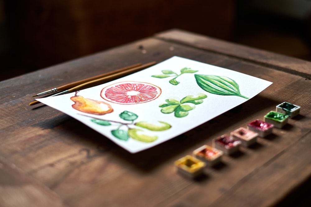 variety of fruits painting on top of table
