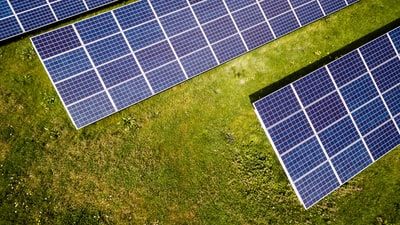 Solar panels on a lawn