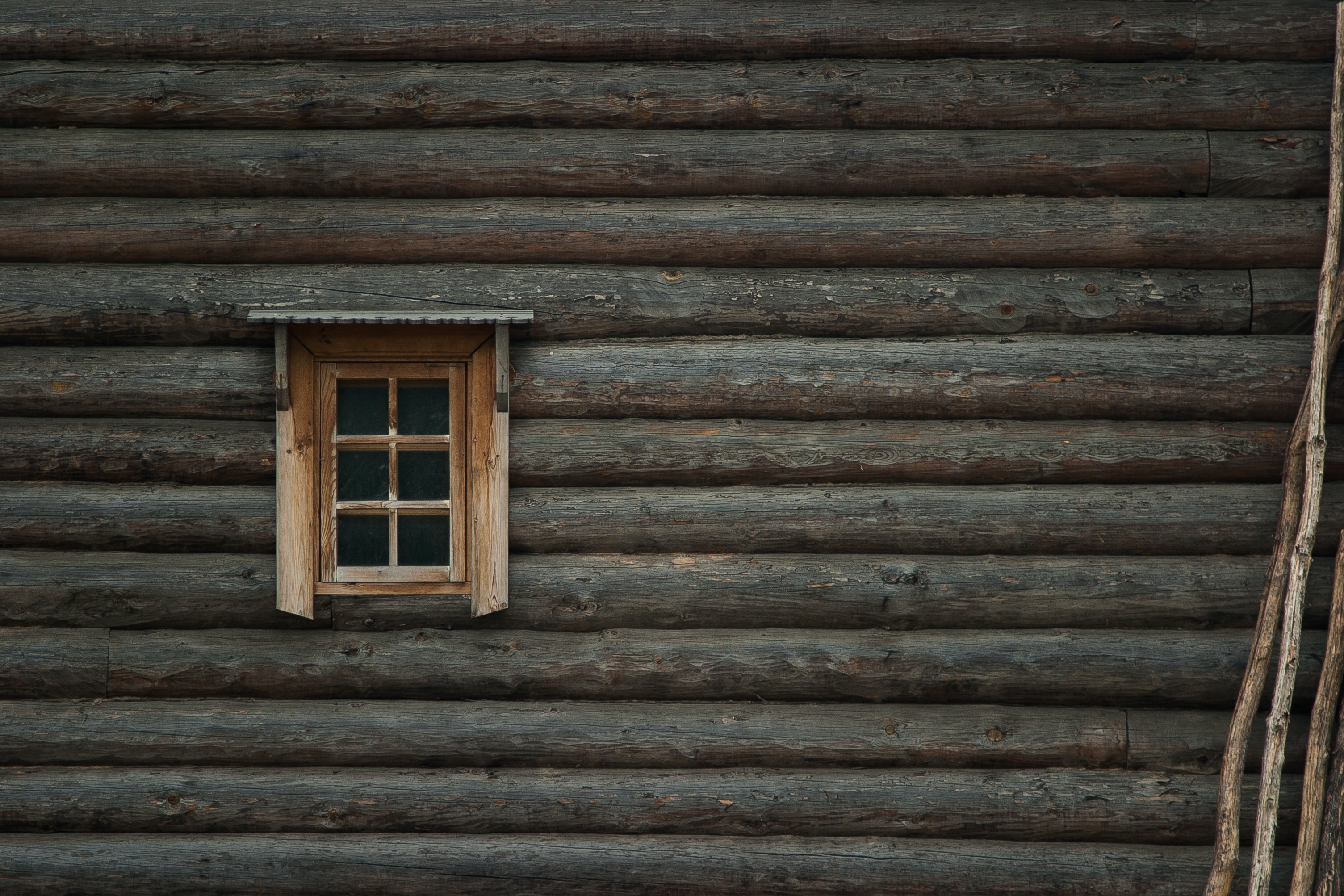 The wall of a log cabin with a small wooden window to the left and some branches leaning up against the wall to the right