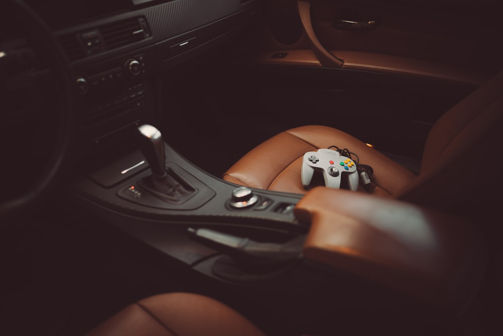 selective focus photography of gear shift lever