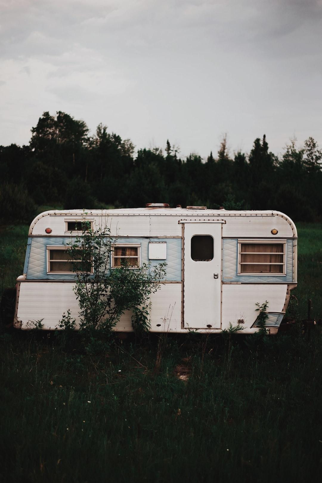 Caravan in a meadow