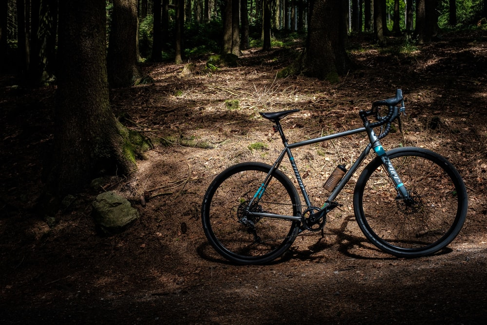 A mountain bike parked in a dark forest in Linz