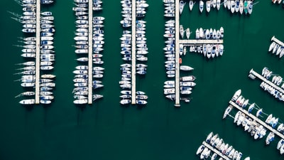 bird's eye view photo of yacht near dock