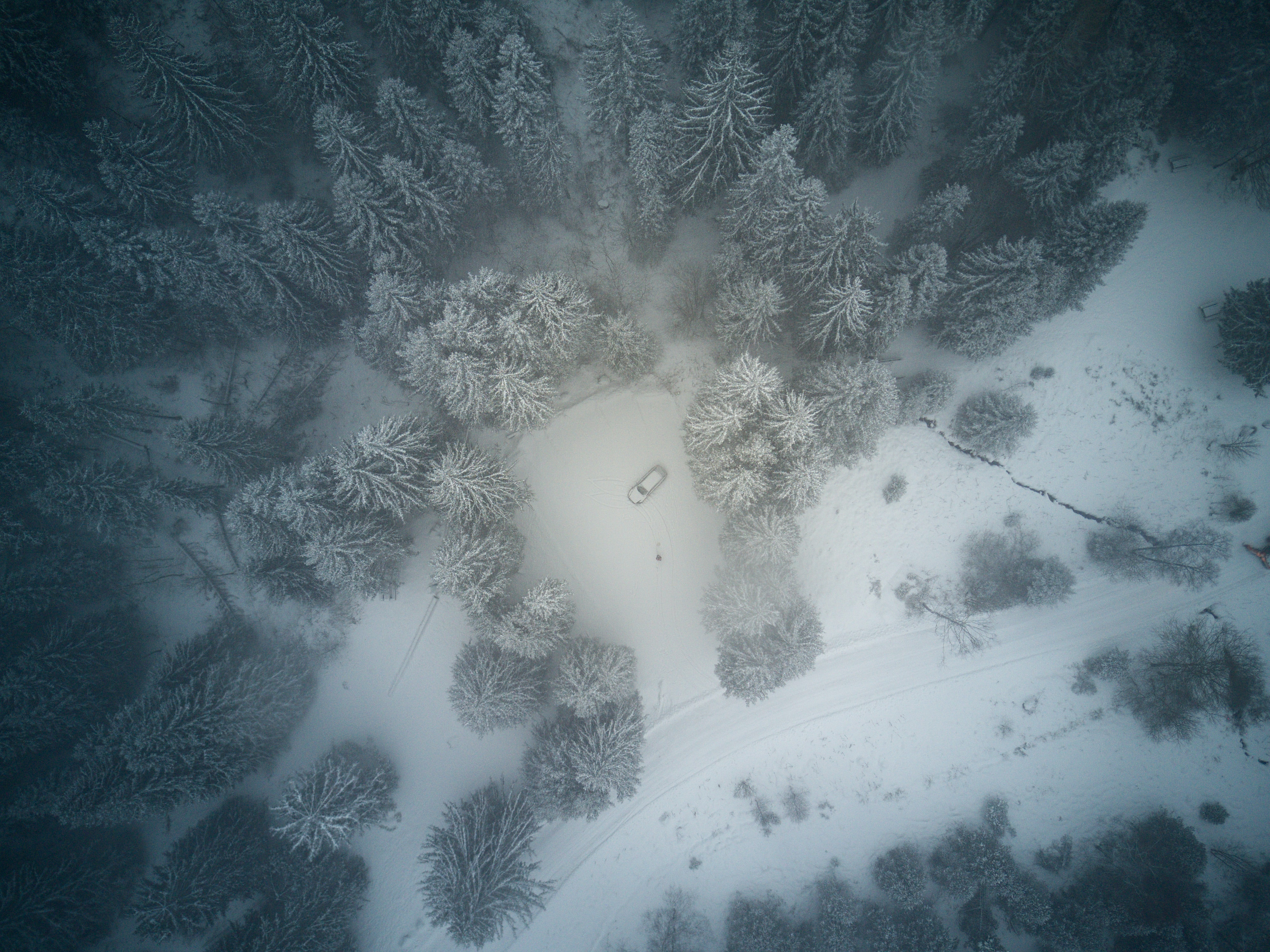 Drone's view of a snow covered, winter forest with a single car