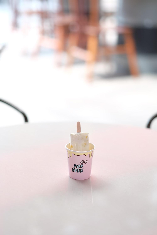 ice cream pop on pink cap