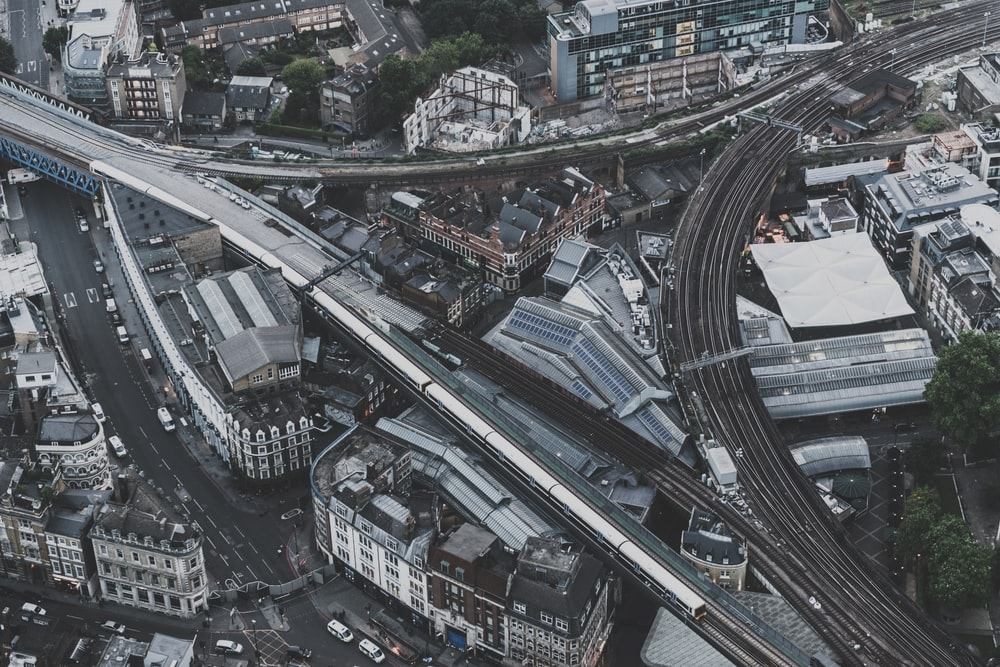 aerial photography of buildings and road
