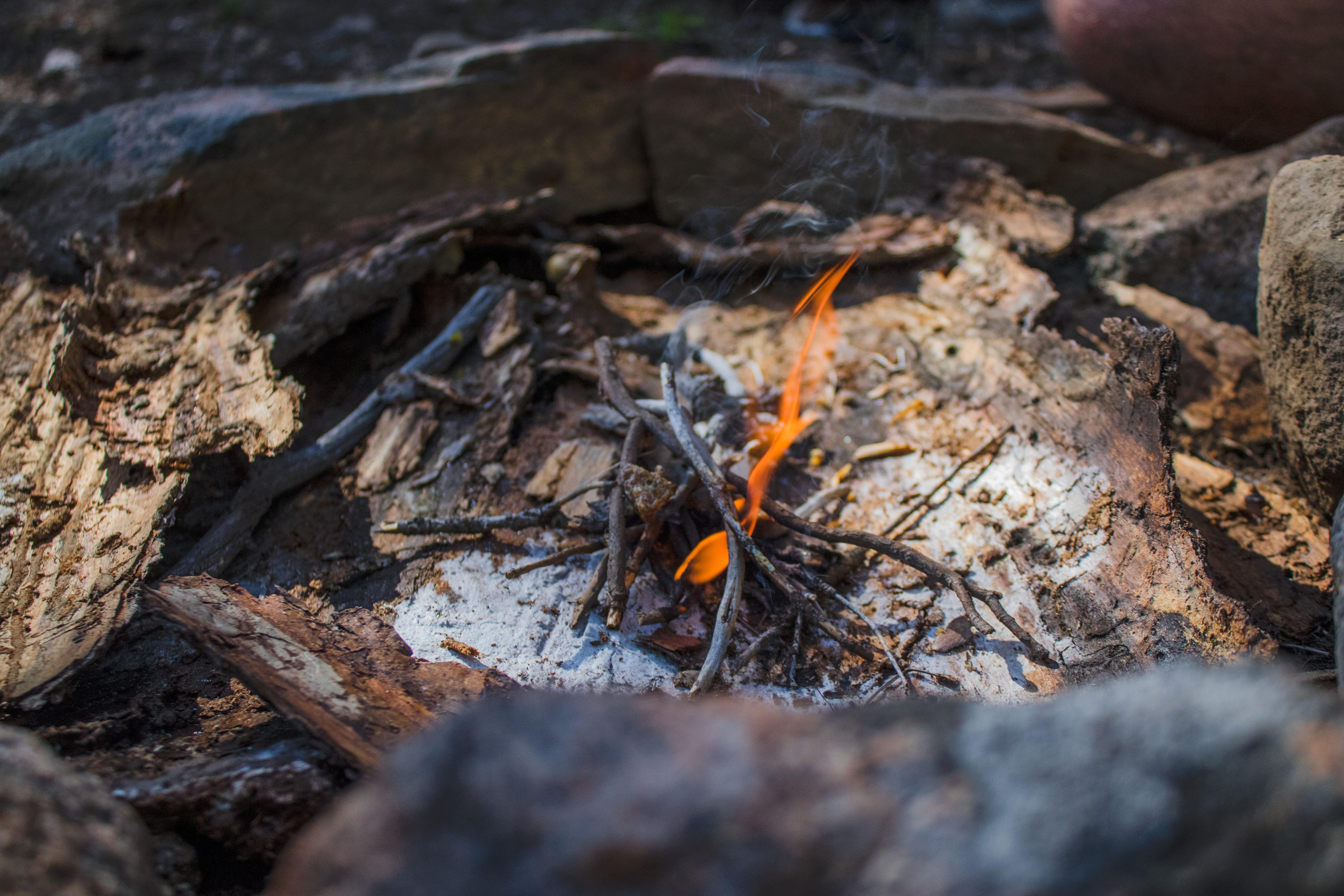 A pile of twigs burning with ash underneath in a pit surrounded by stones and bark.