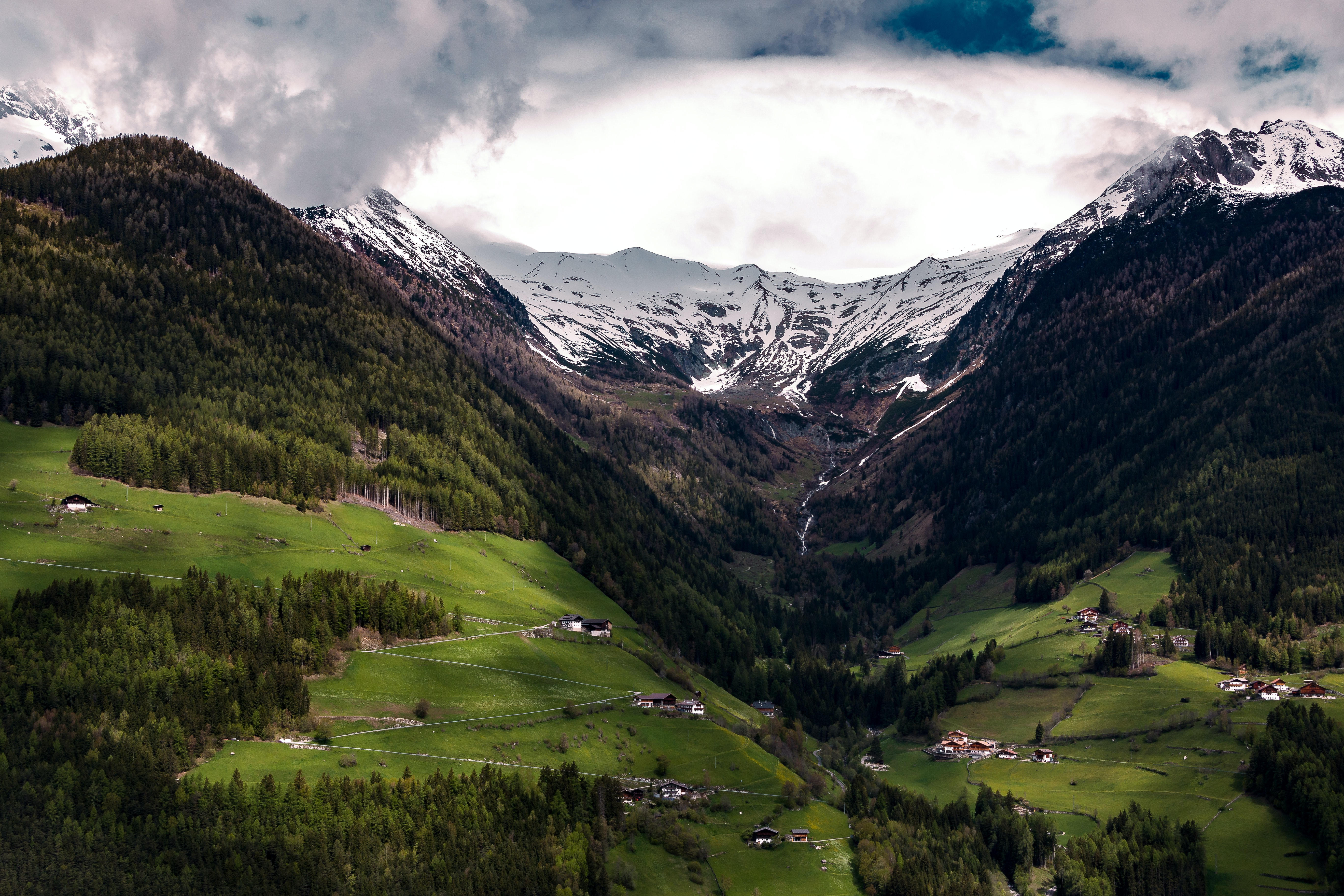 A village in a deep mountain valley in Zillertal Alps