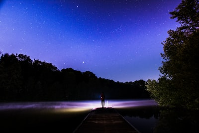 It has been a fun night with some friends at the lake. I just wanted to take some photos of the stars but one of my friends took a flashlight and illuminated the lake. It just looks like he searches something in the dark.